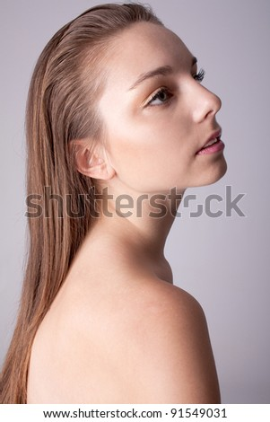 Skin and beauty care - young beautiful female - Close up portrait of a beautiful female model - stock photo