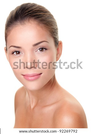 Skin care beauty woman. Multiracial Asian / Caucasian female beauty face portrait for spa treatment, skin care or other concepts. Face shot with perfect skin isolated on white background. - stock photo