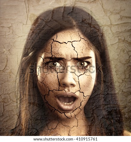 Skin Care Concept. Young Woman with Dry Cracked Face - stock photo