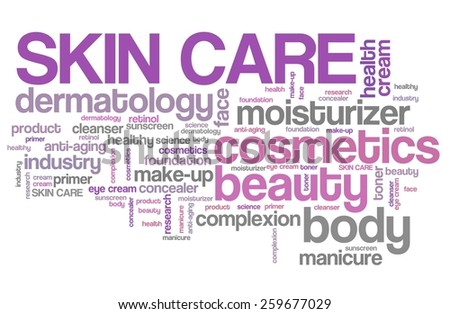 Skin care products - beauty industry. Tag cloud concept. - stock photo