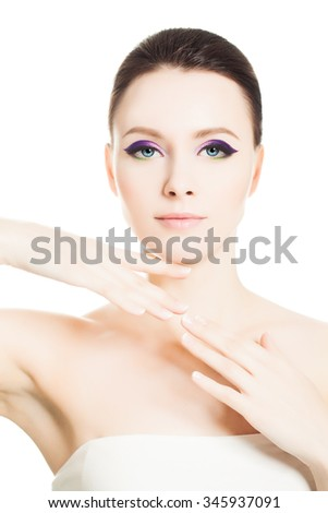 Skin Care Spa Concept. Healthy Woman with Clear Skin and Natural Make-up - stock photo