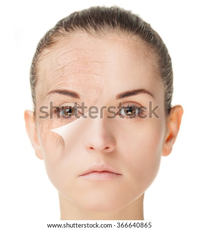 Skin care treatment before and after, rejuvenation procedure - stock photo