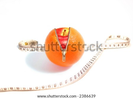 Skin Deep, fun attractive concept for Healthy Eating with Orange and Apple - stock photo