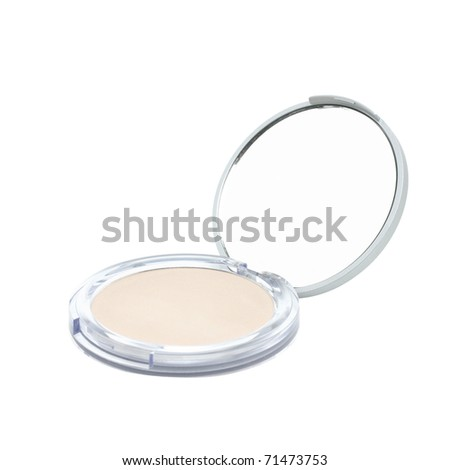 Skin powder and beauty mirror, isolated on white