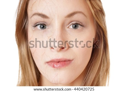 skin rejuvenation concept. young woman with dry skin texture on half of her face and smooth skin on the other. - stock photo