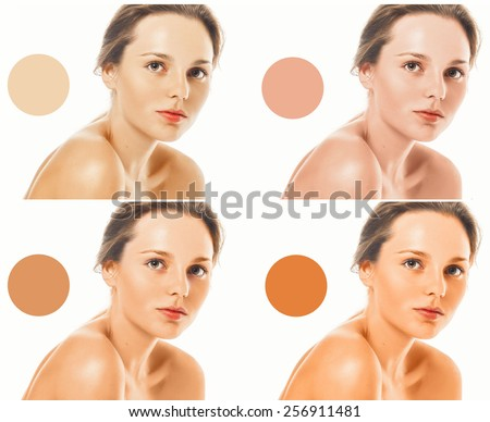 Skin tone makeup foundation woman portrait healthy care perfect - stock photo