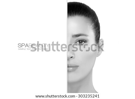 Skincare and Beauty concept with a half face portrait of a gorgeous woman with healthy clean skin and blank copy space alongside with sample text. Template design - stock photo