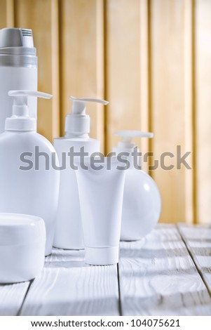 skincare composition on the old white table - stock photo