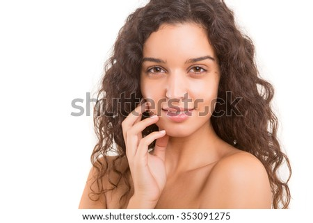 Skincare concept - A young woman with a beautiful skin - stock photo