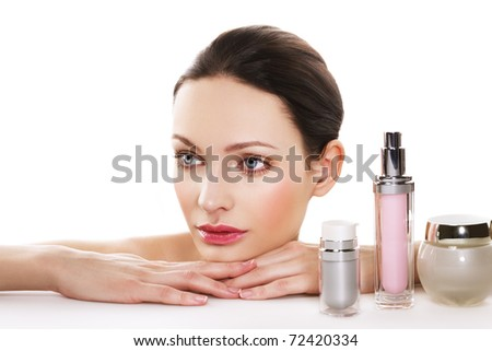 Skincare products. Space for text. - stock photo