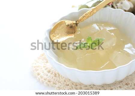 Skinless aloe vera and syrup with mint on top for healthy dessert image