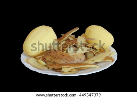 skinned potatoes on a white plate;