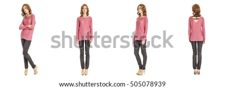 Skinny brunette fashion model in pink blouse isolated