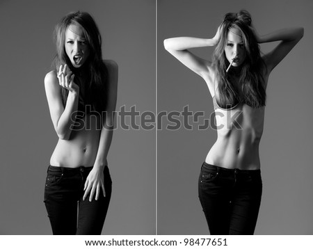 skinny model with a cigarette - stock photo
