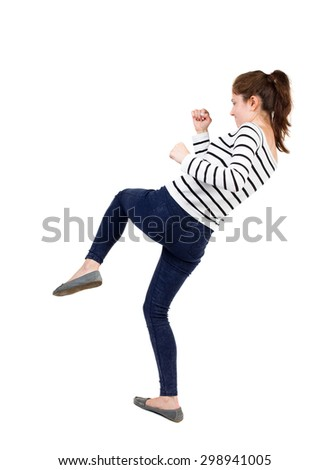 skinny woman funny fights waving his arms and legs. Isolated over white background. Frenchwoman in vest standing fighter's pose. - stock photo