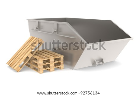 Skip. Steel Skip with a pile of pallets. Part of warehouse and logistics series. - stock photo