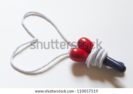 Skipping Rope Forming A Heart Shape - stock photo