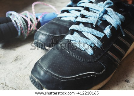 Skipping rope with shoes sport