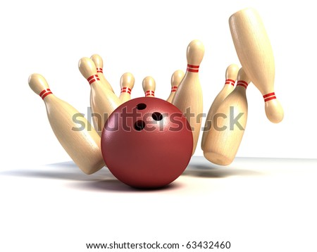 skittles and ball on white background, bowling - stock photo