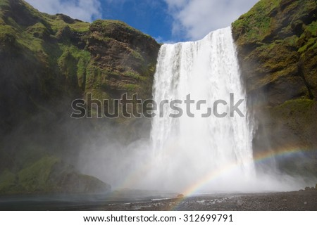 Skogafoss waterfall in Iceland - stock photo