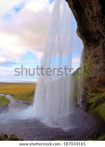 Skogafoss Waterfall in  southern part of Iceland - stock photo
