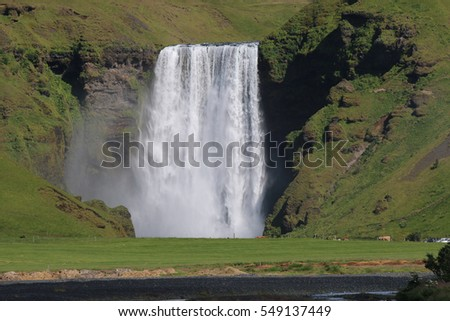 Skogafoss Waterfall on Skoga River in South Iceland