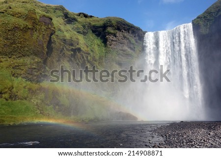 Skogafoss waterfall on the South of Iceland - stock photo