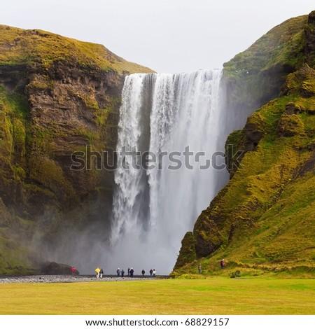 Skogarfoss waterfall on the south of Iceland. - stock photo