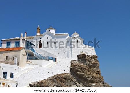 Skopelos island in Greece. View of the Panagitsa Tou Pirgou old church - stock photo