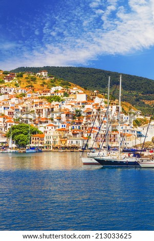 Skopelos Old Town as seen from the water - stock photo