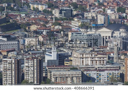 SKOPJE, MACEDONIA - APRIL 14, 2016: Aerial view of the city centre of Skopje - Macedonia