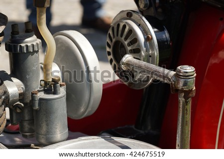 Skopje, Macedonia April 27 2016 exhibition of old cars. Part of the engine on the motorcycle