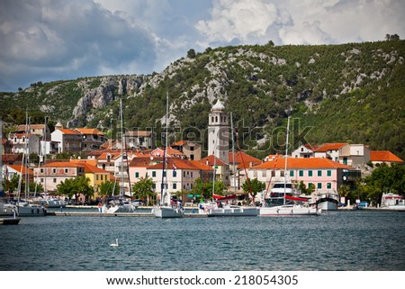 Skradin is a small historic town and harbour on the Adriatic coast and Krka river in Croatia. Vignetted shot