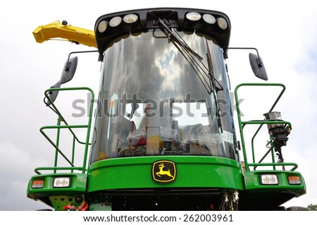 Skrzelew - October 09: Cockpit of Corn Harvester Combine John Deere, presented during the XIII Days of Corn on October 09, 2011 in Skrzelew, Poland. - stock photo