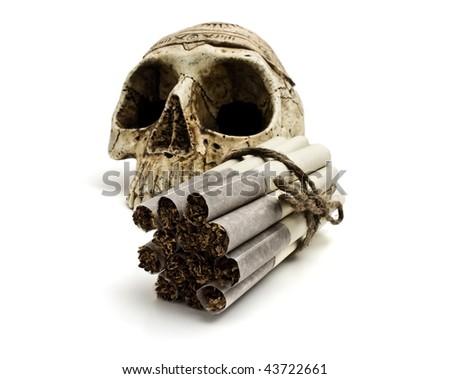 skull and cigarettes  on white background - stock photo