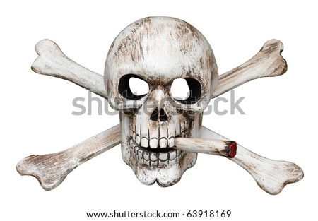 Skull and Cross Bones with Cigarette isolated with clipping path - stock photo