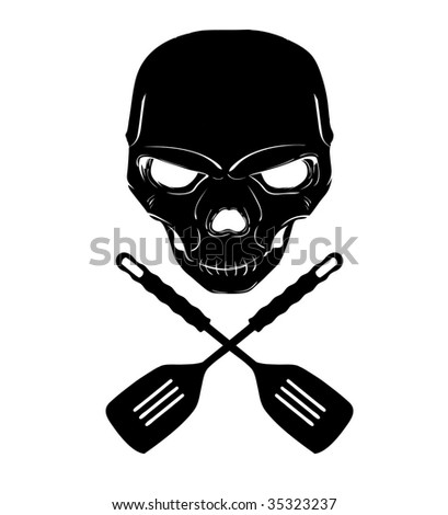 Skull and cross spatulas - stock photo