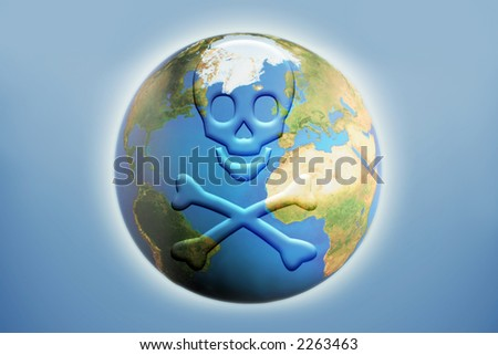 skull and crossbones depicting global destruction - stock photo