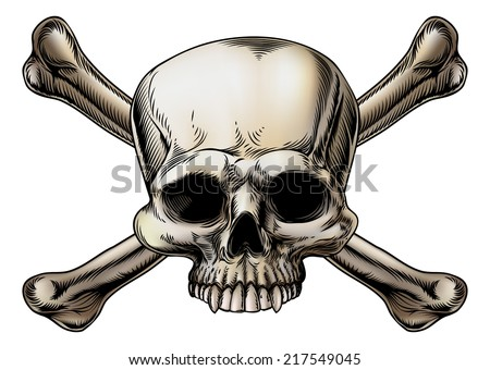 Skull and crossbones drawing with skull in the center of the crossed bones - stock photo