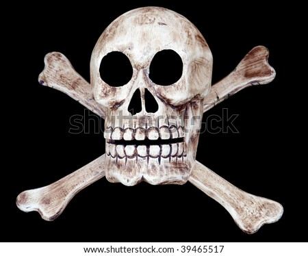 Skull and Crossbones isolated with clipping path - stock photo