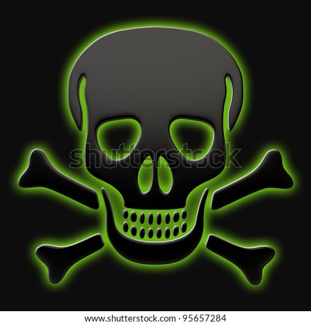 Skull and crossbones on a black background. - stock photo