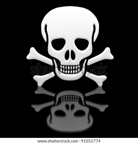 Skull and crossbones on a black glossy surface. - stock photo
