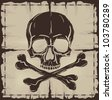Skull and Crossbones over old damaged paper. Raster version of the illustration. - stock photo