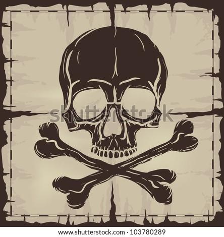 Skull and Crossbones over old damaged paper. Raster version of the illustration. - stock photo