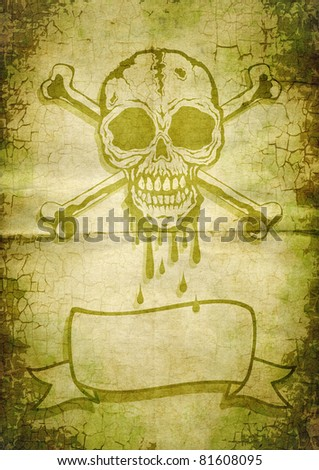 Skull and crossbones painted on old paper - stock photo
