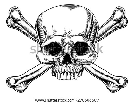 Skull and crossed bones drawing in a vintage woodcut style - stock photo