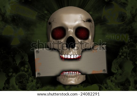 Skull and danger signs - stock photo