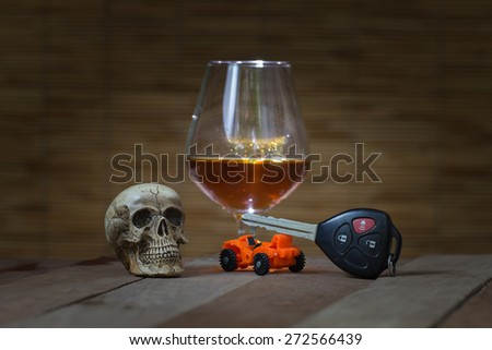 Skull and Drinking Don't Driving Still Life - stock photo