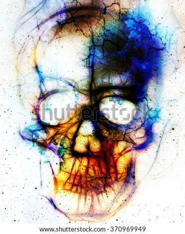 Skull and fractal effect. Color abstract background, computer collage - stock photo
