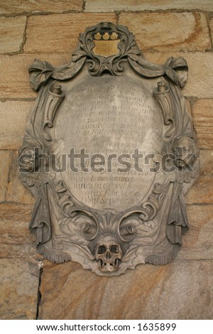 Skull and frame at the Durham cathedral - stock photo